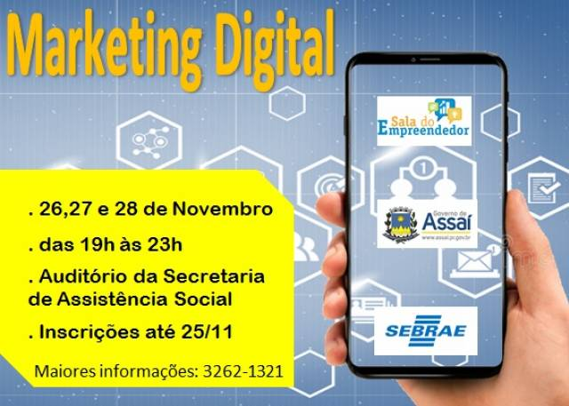 Inscrições para curso de Marketing Digital